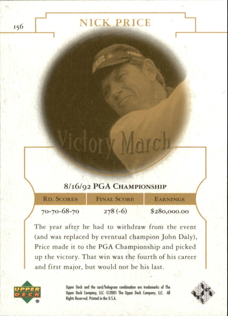 2001 Upper Deck #156 Nick Price VM back image