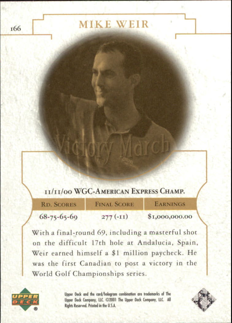 2001 Upper Deck #166 Mike Weir VM back image