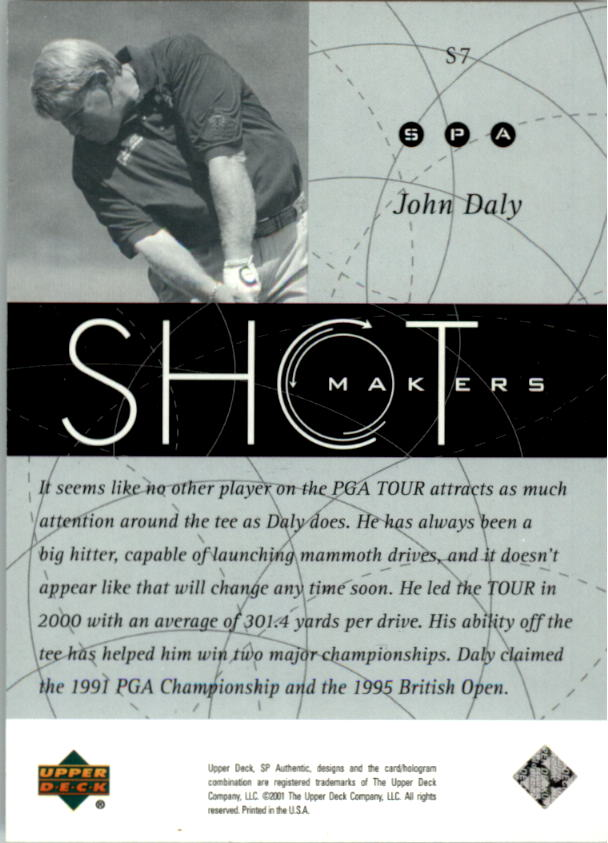 2001 SP Authentic Shotmakers #S7 John Daly back image