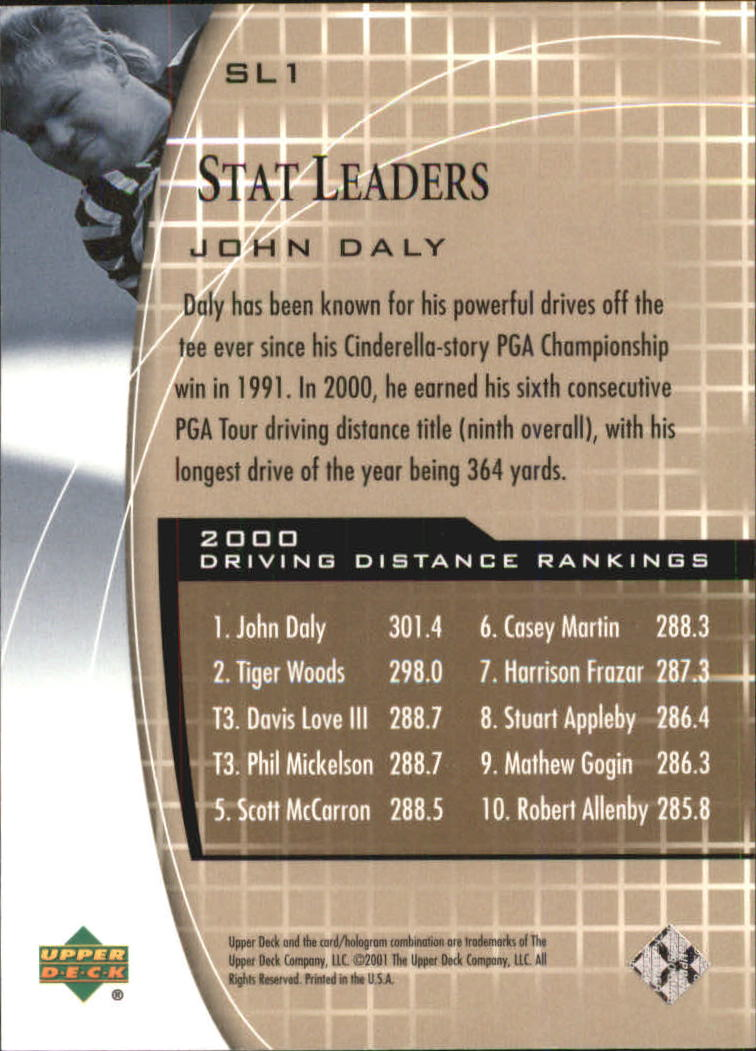 2001 Upper Deck Stat Leaders #SL1 John Daly back image