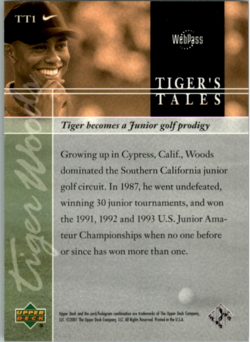 2001 Upper Deck Tiger's Tales #TT1 Tiger Woods back image