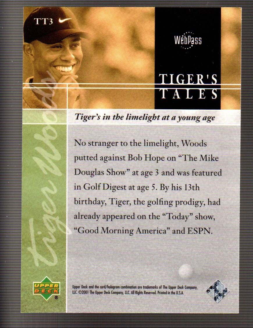 2001 Upper Deck Tiger's Tales #TT3 Tiger Woods back image