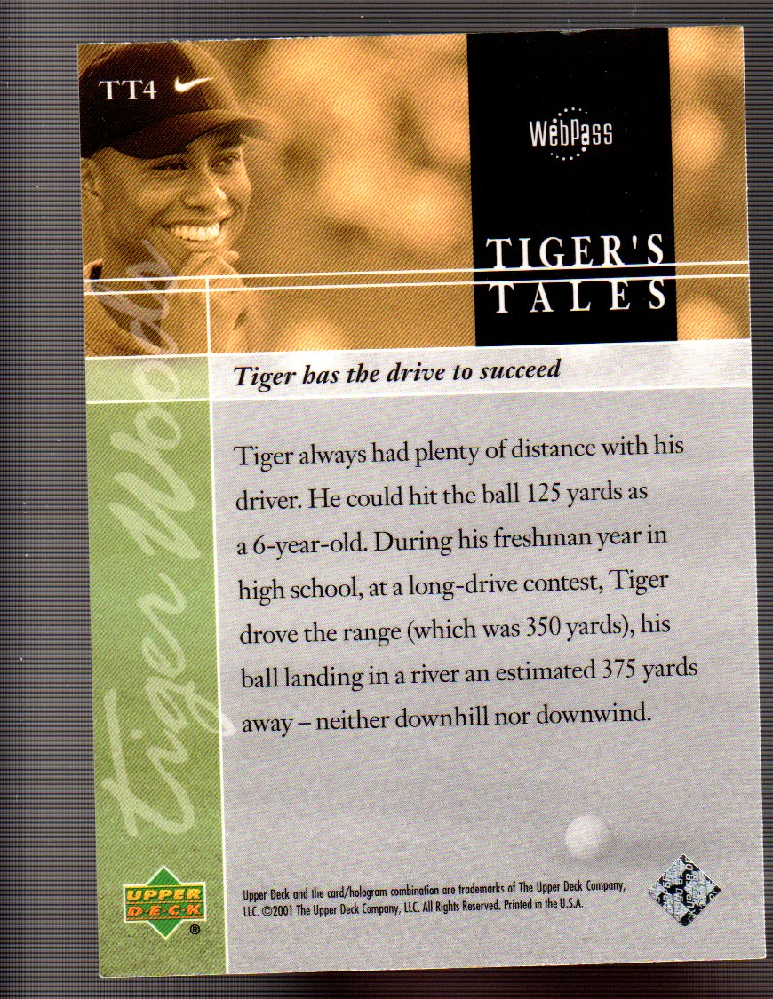 2001 Upper Deck Tiger's Tales #TT4 Tiger Woods back image