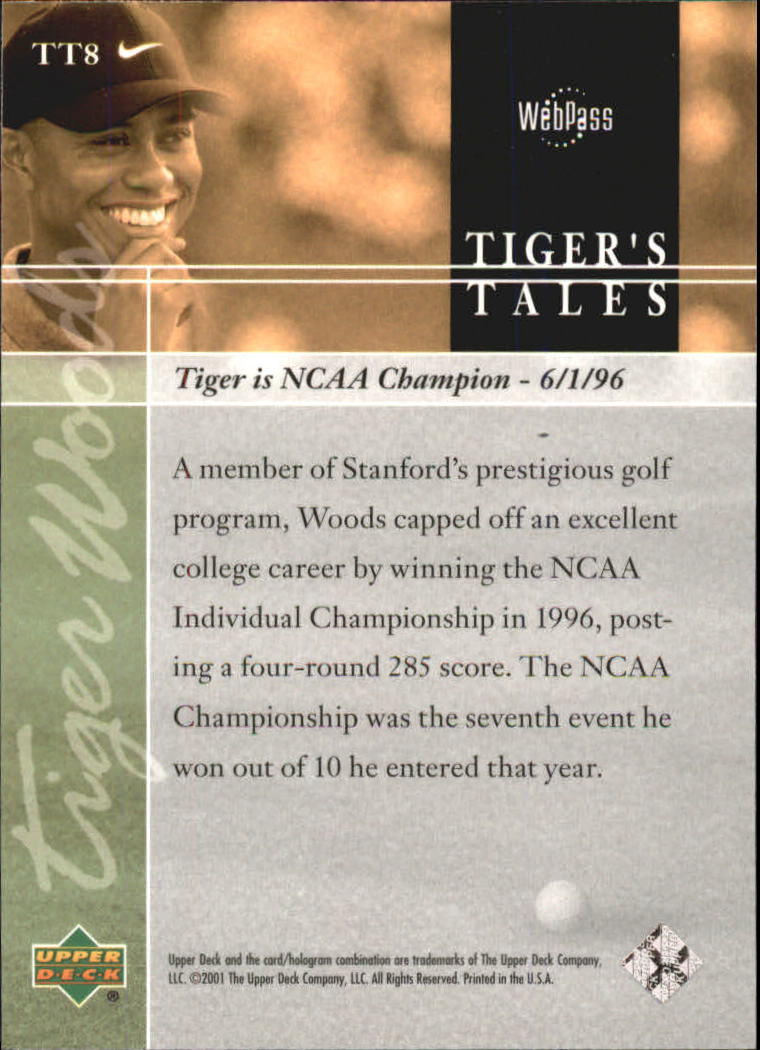 2001 Upper Deck Tiger's Tales #TT8 Tiger Woods back image