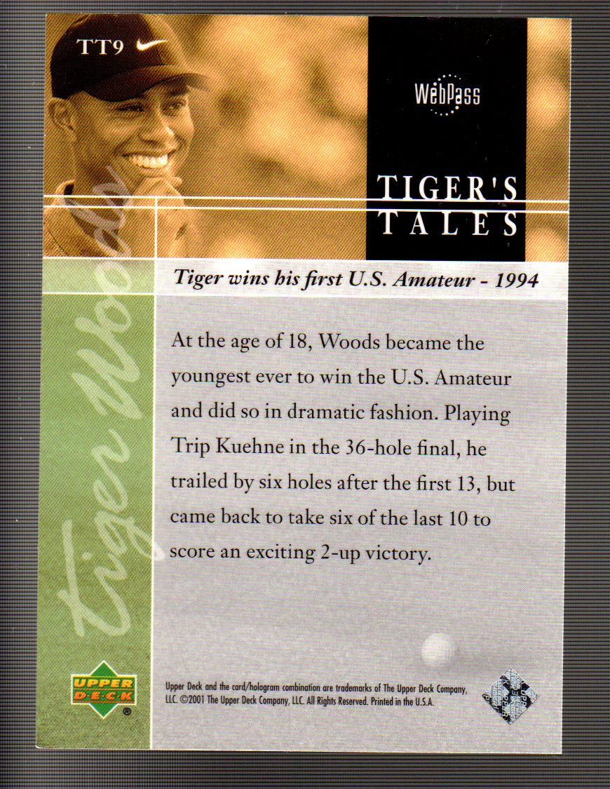 2001 Upper Deck Tiger's Tales #TT9 Tiger Woods back image