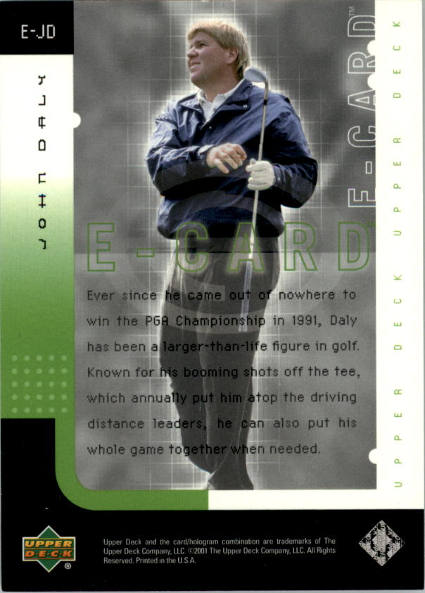 2001 Upper Deck e-Card #EJD John Daly back image