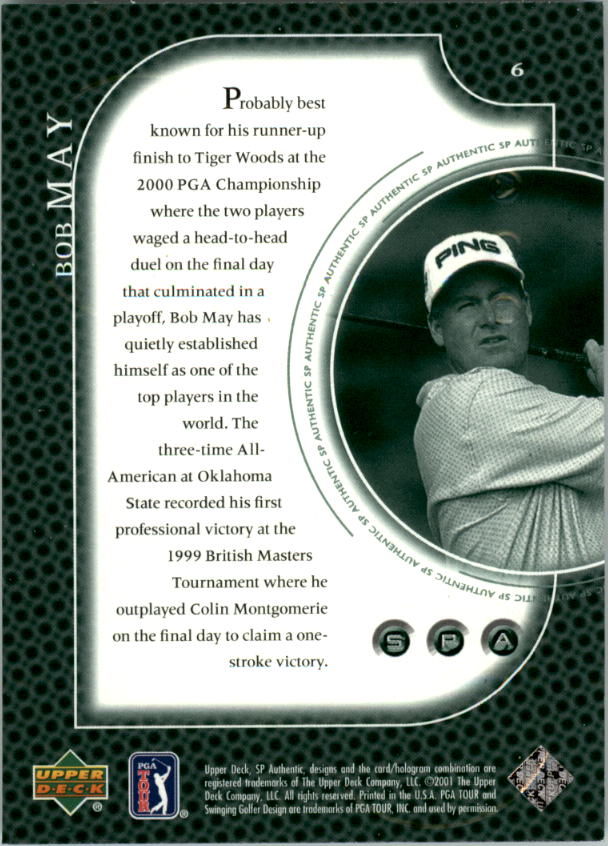 2001 SP Authentic Preview #6 Bob May back image