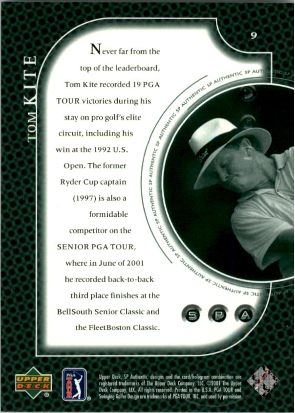 2001 SP Authentic Preview #9 Tom Kite back image