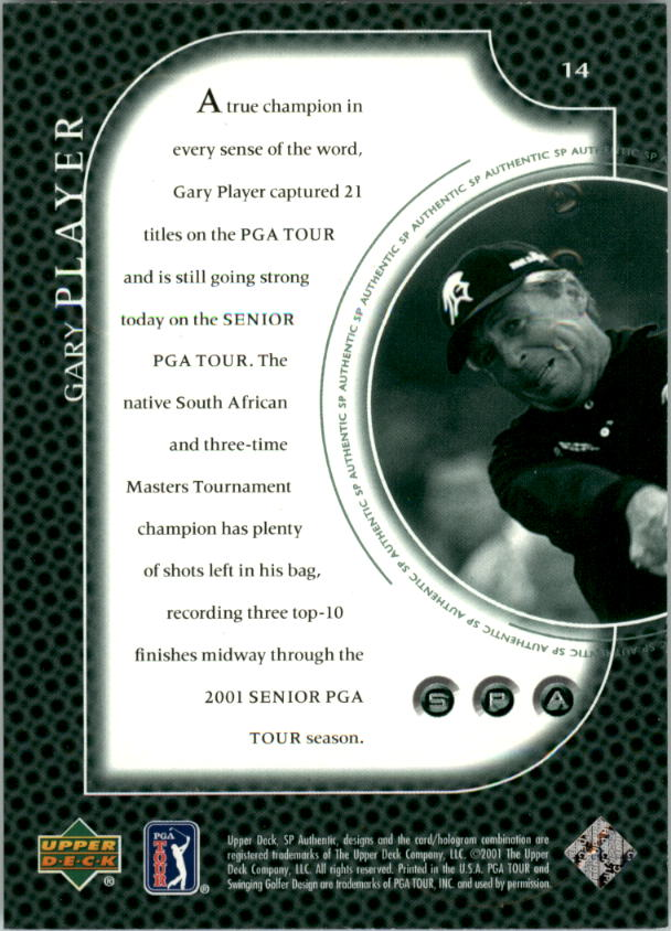 2001 SP Authentic Preview #14 Gary Player back image
