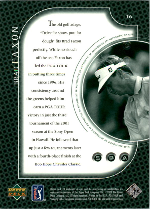 2001 SP Authentic Preview #16 Brad Faxon