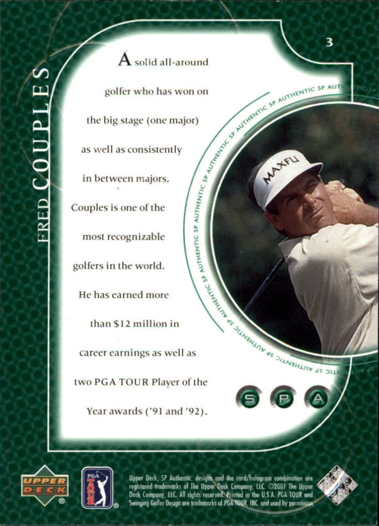 2001 SP Authentic #3 Fred Couples back image