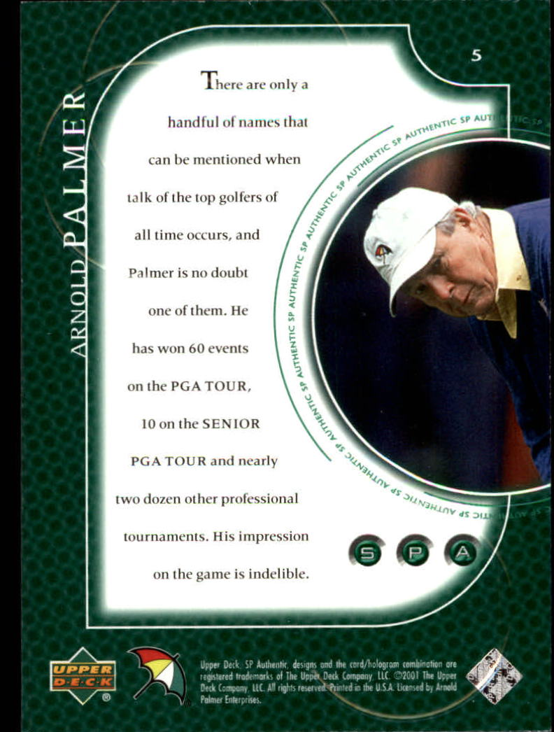 2001 SP Authentic #5 Arnold Palmer back image