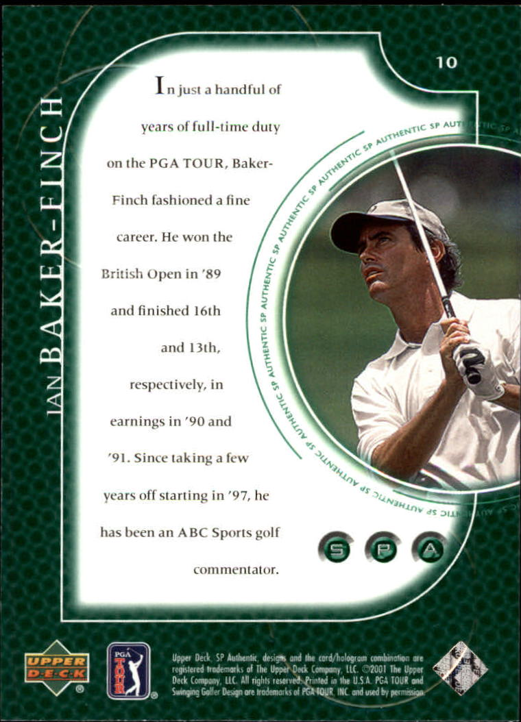2001 SP Authentic #10 Ian Baker Finch back image