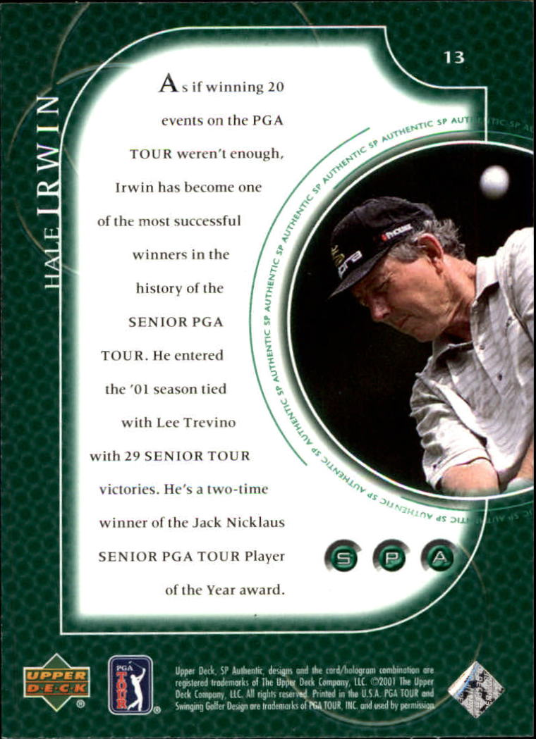 2001 SP Authentic #13 Hale Irwin back image