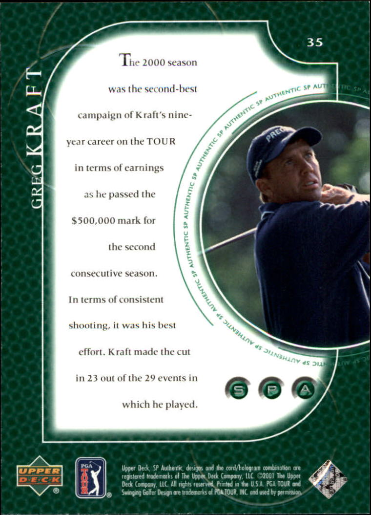2001 SP Authentic #35 Greg Kraft back image