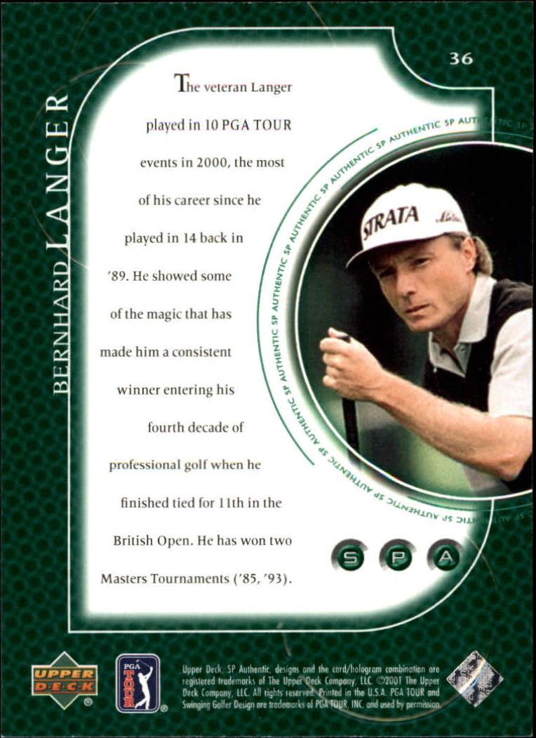 2001 SP Authentic #36 Bernhard Langer back image
