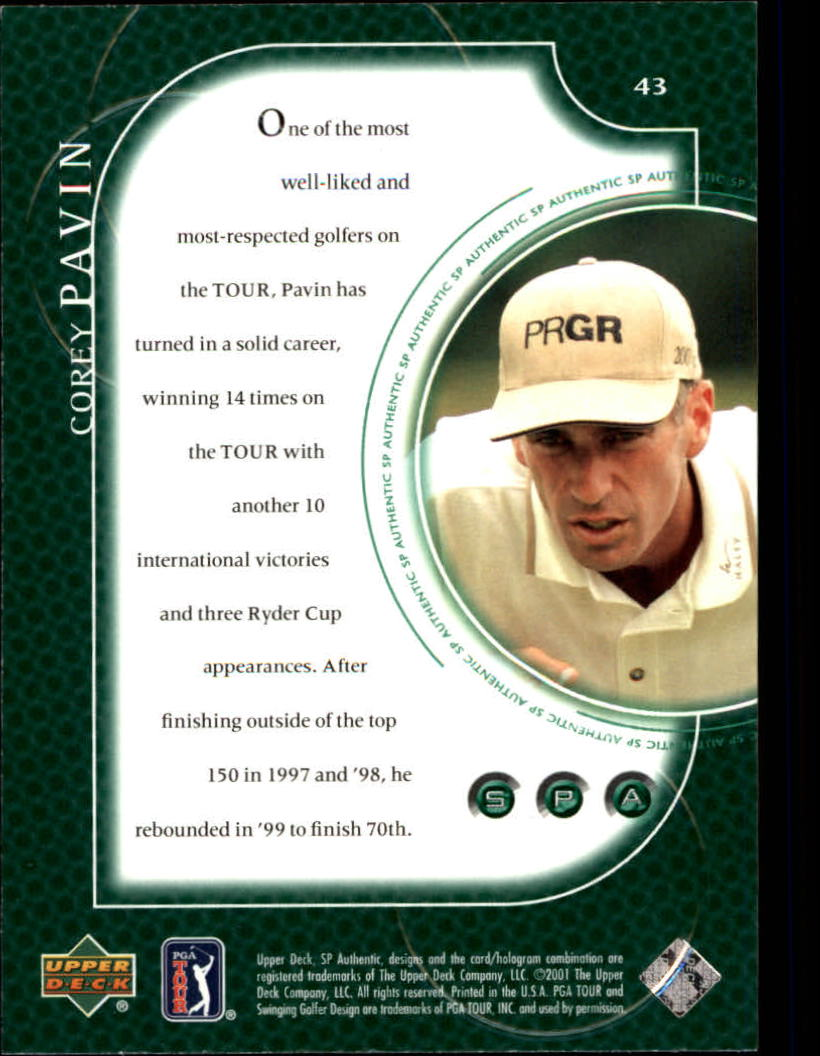 2001 SP Authentic #43 Corey Pavin back image