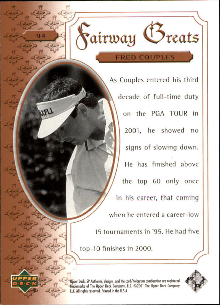 2001 SP Authentic #94 Fred Couples FG back image