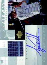 2002 Upper Deck Fairway Fabrics Signatures Silver #TWAFF Tiger Woods