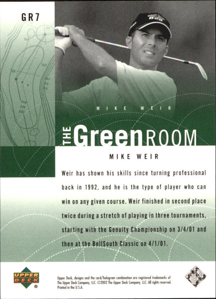 2002 Upper Deck Green Room #GR7 Mike Weir back image