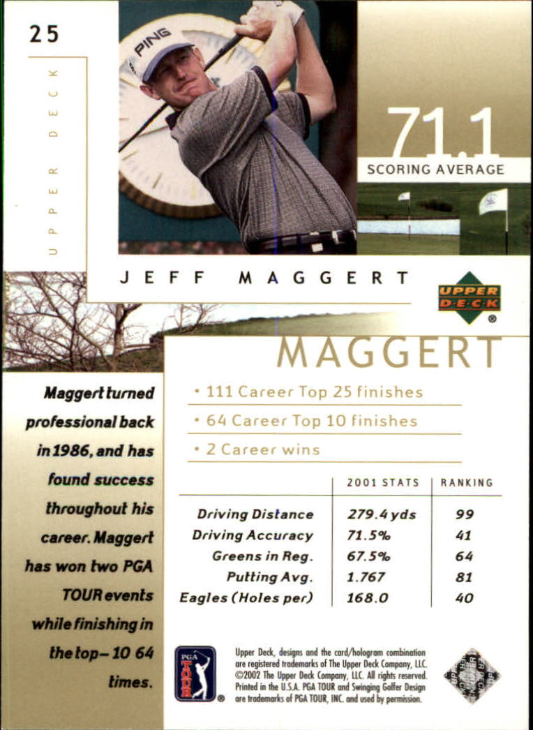 2002 Upper Deck #25 Jeff Maggert back image