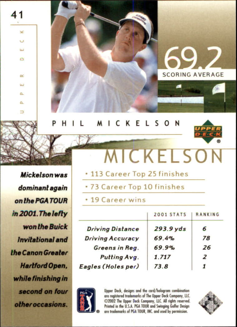 2002 Upper Deck #41 Phil Mickelson RC