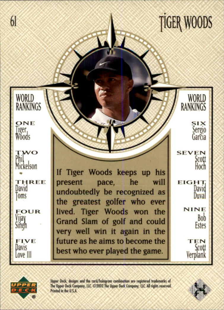 2002 Upper Deck #61 Tiger Woods NWO back image