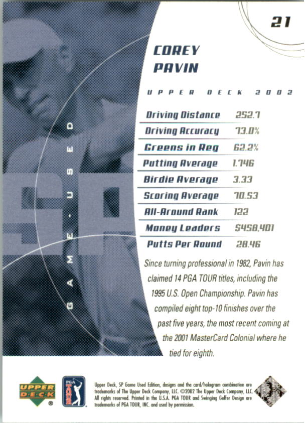 2002 SP Game Used #21 Corey Pavin