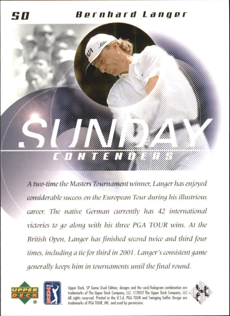 2002 SP Game Used #50 Bernhard Langer SC back image
