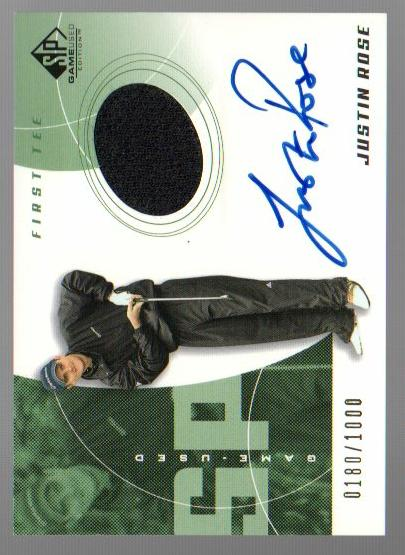 2002 SP Game Used #71 Justin Rose AU Jsy T2 RC