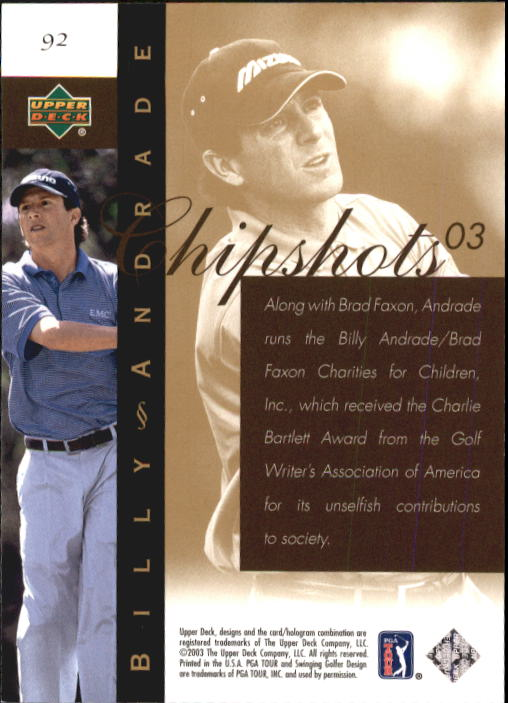 2003 Upper Deck #92 Billy Andrade CS back image