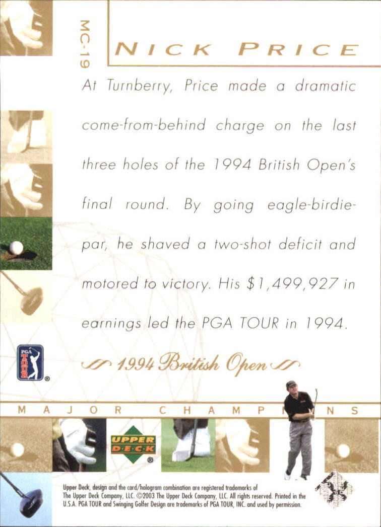 2003 Upper Deck Major Champions #19 Nick Price 94 British back image