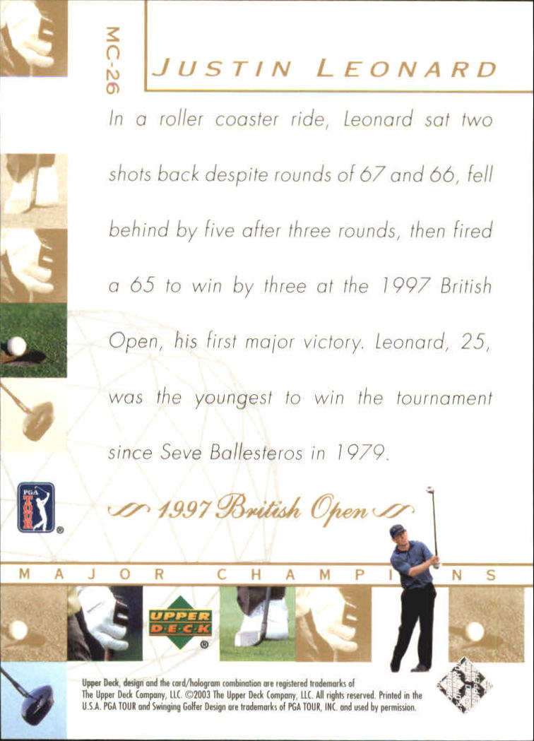 2003 Upper Deck Major Champions #26 Justin Leonard 97 British back image
