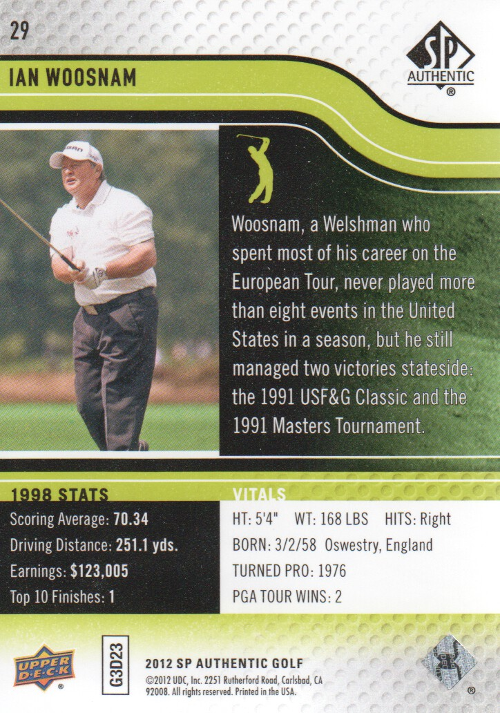 2012 SP Authentic #29 Ian Woosnam