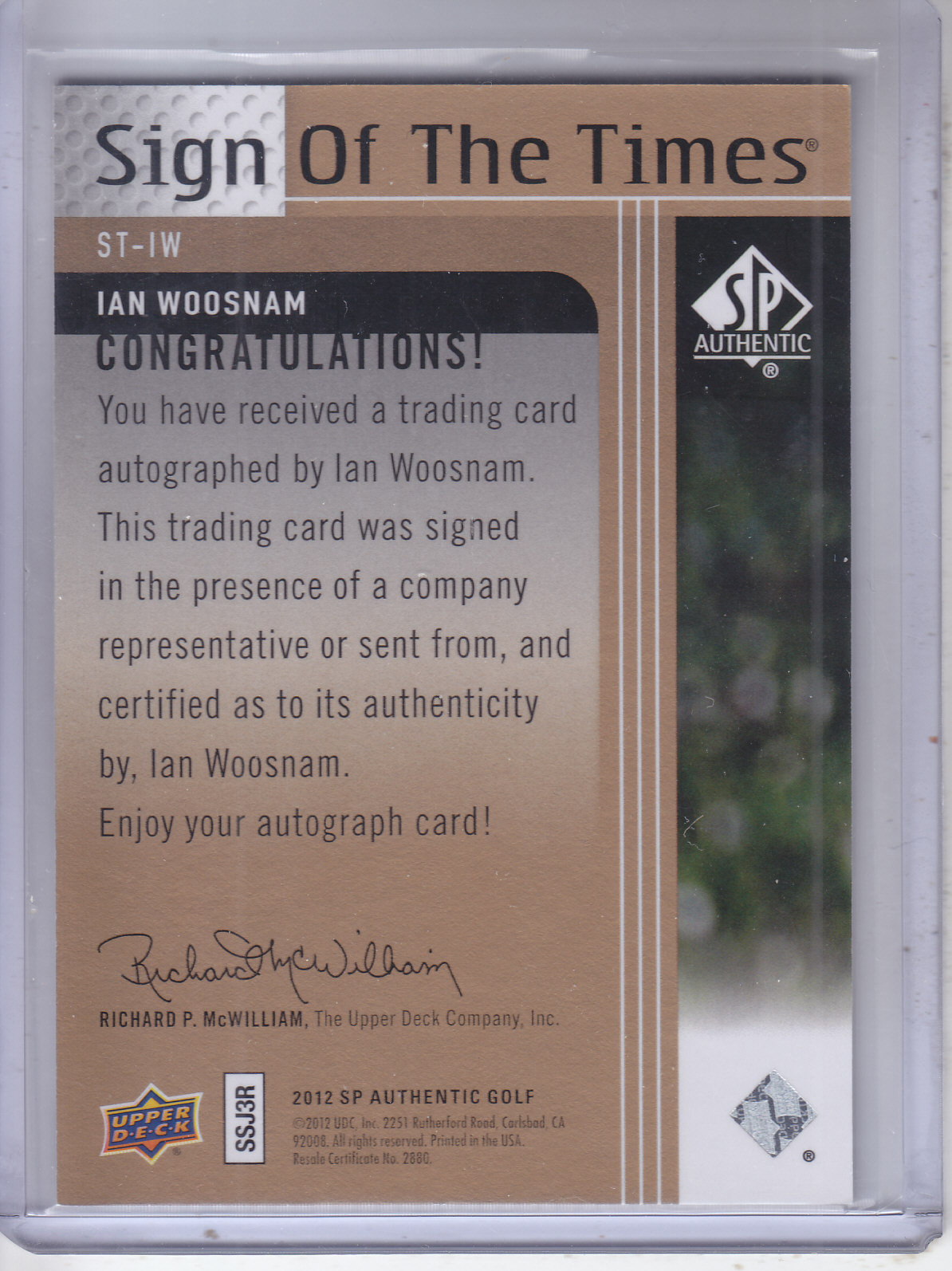2012 SP Authentic Sign of the Times #STIW Ian Woosnam E