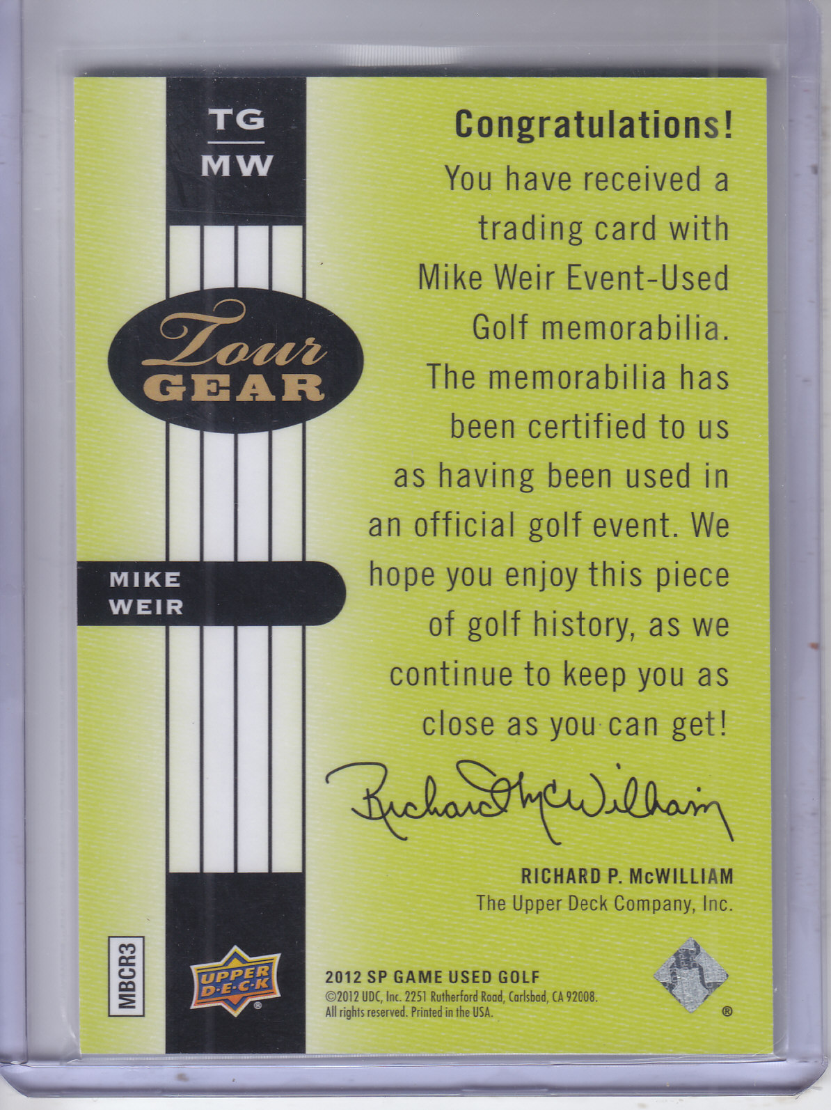 2012 SP Game Used Tour Gear #TGMW Mike Weir C