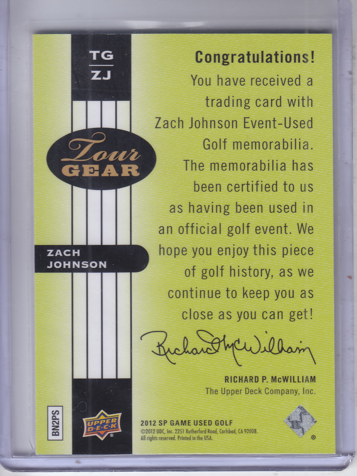 2012 SP Game Used Tour Gear #TGZJ Zach Johnson C