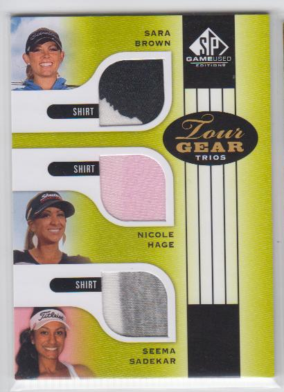 2012 SP Game Used Tour Gear Triple #TG3BHS Sara Brown/ Nicole Hage/ Seema Sadekar B