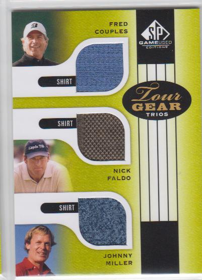 2012 SP Game Used Tour Gear Triple #TG3CFM Fred Couples/ Nick Faldo/ Johnny Miller C