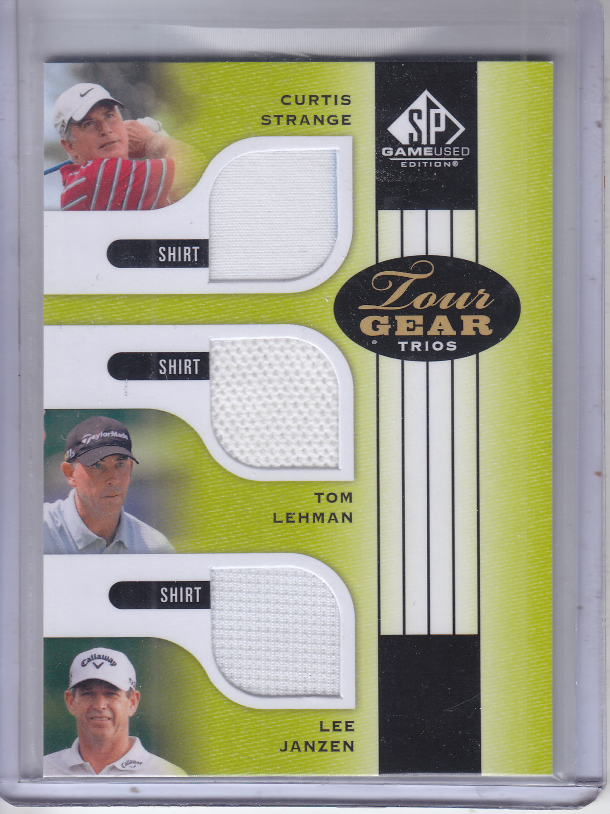 2012 SP Game Used Tour Gear Triple #TG3SLJ Curtis Strange/ Tom Lehman/ Lee Janzen C