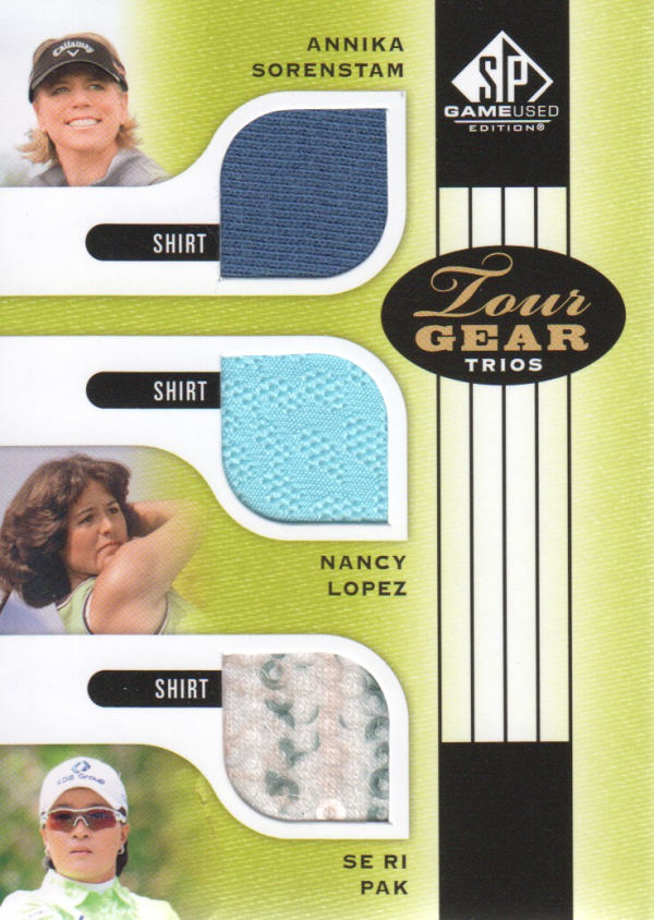 2012 SP Game Used Tour Gear Triple #TG3HOF Annika Sorenstam/ Nancy Lopez/ Se Ri Pak B