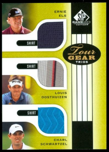 2012 SP Game Used Tour Gear Triple #TG3ELS Ernie Els/ Louis Oosthuizen/ Charl Schwartzel B