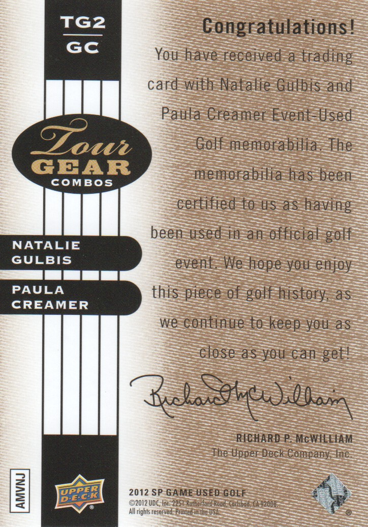 2012 SP Game Used Tour Gear Dual Gold #TG2GC Natalie Gulbis/ Paula Creamer