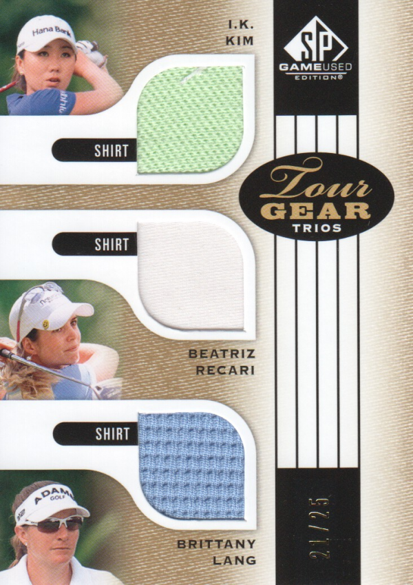 2012 SP Game Used Tour Gear Triple Gold #TG3KRL I.K. Kim/ Beatriz Recari/ Brittany Lang