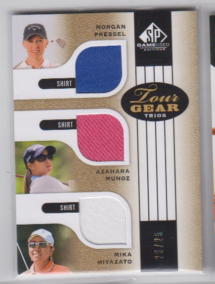 2012 SP Game Used Tour Gear Triple Gold #TG3PMM Morgan Pressel/ Mika Miyazato/ Azahara Munoz