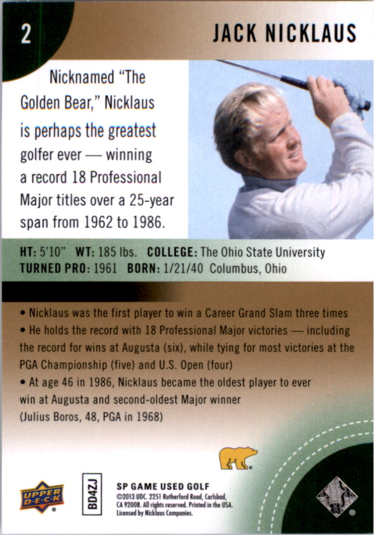 2014 SP Game Used #2 Jack Nicklaus