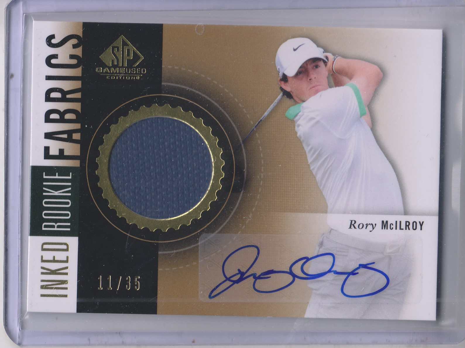 2014 SP Game Used Inked Rookie Fabrics #IRFRM Rory McIlroy/35