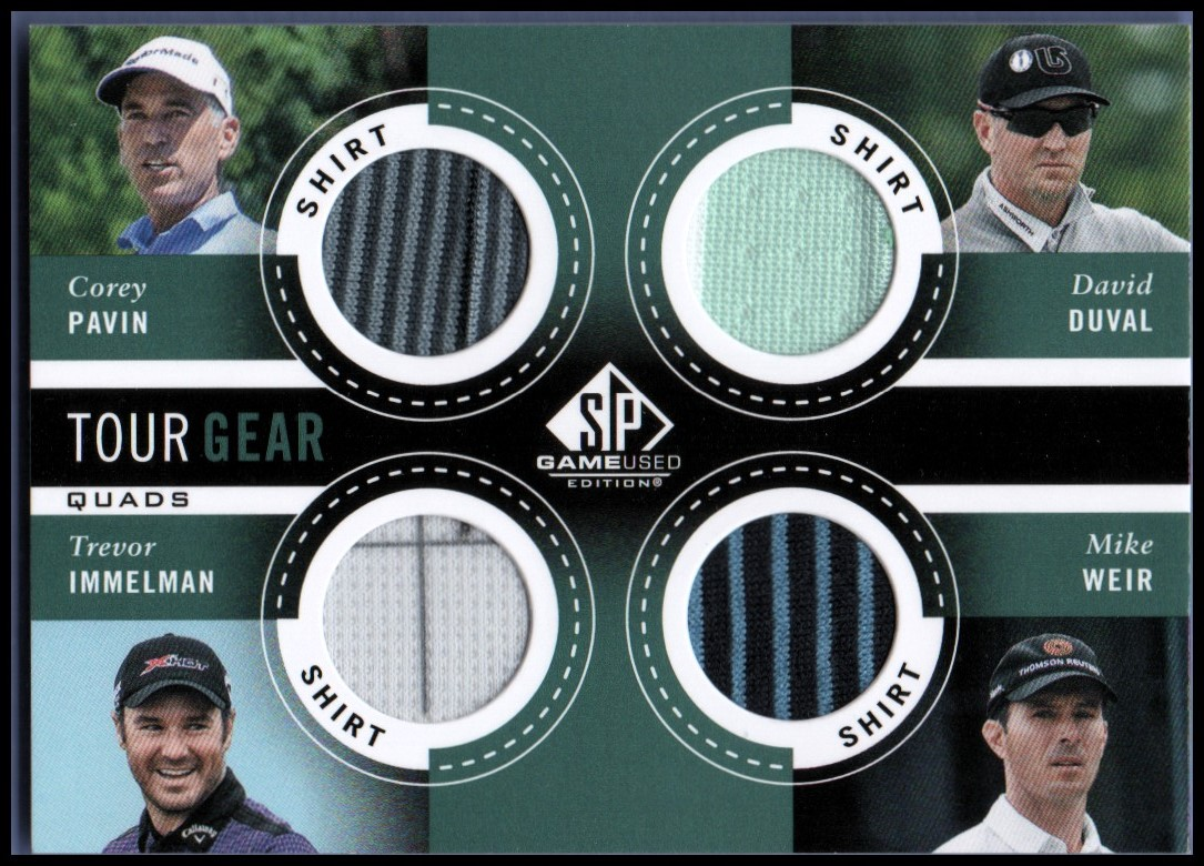 2014 SP Game Used Tour Gear Quad #TG4WIPD Mike Weir/Trevor Immelman/Corey Pavin/David Duval B