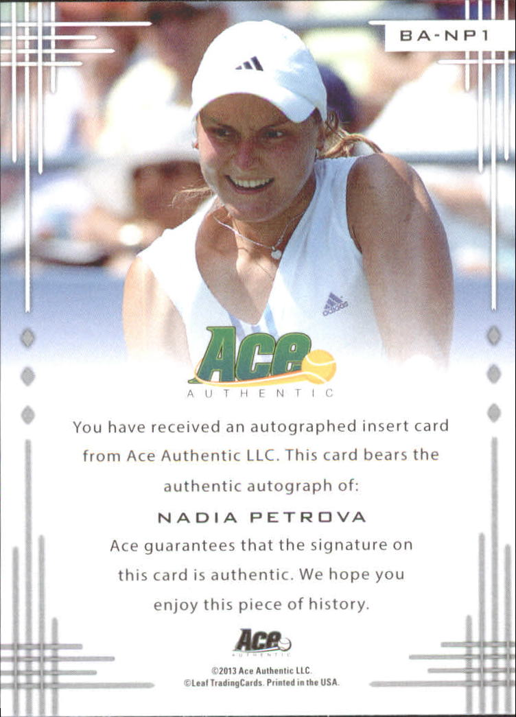 2013 Ace Authentic #BANP1 Nadia Petrova