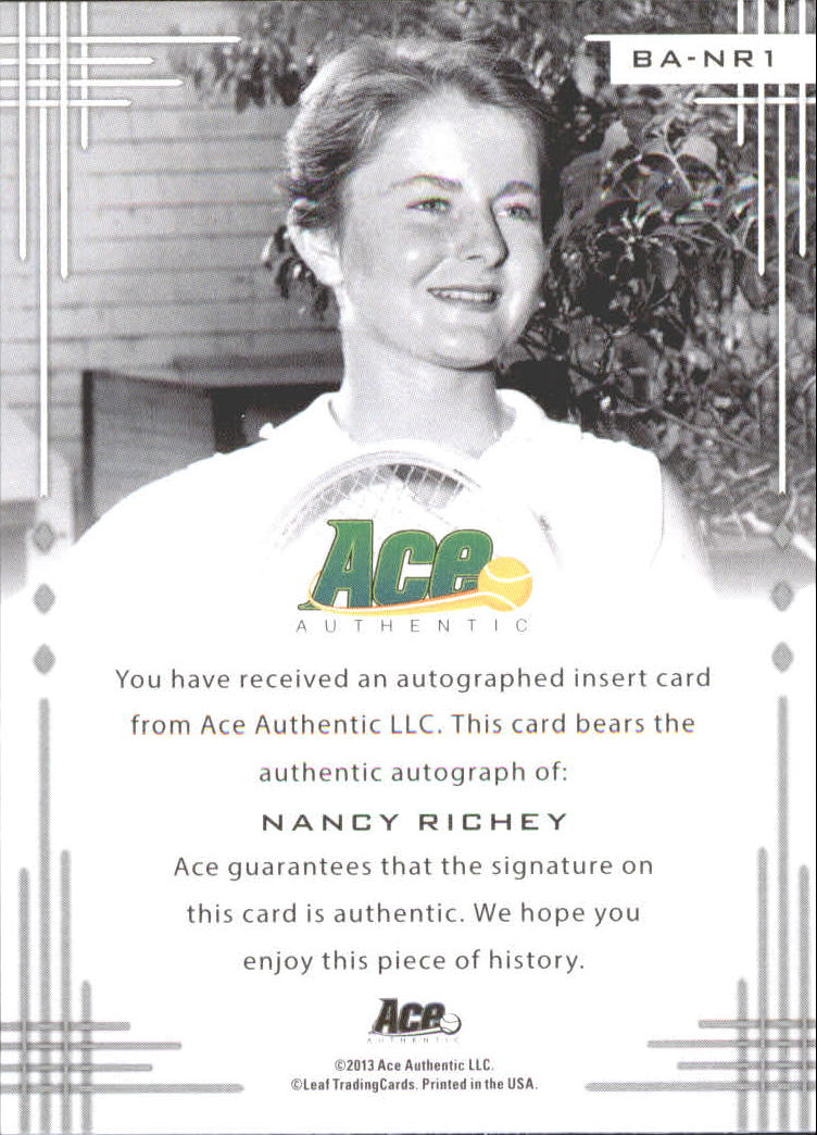 2013 Ace Authentic #BANR1 Nancy Richey